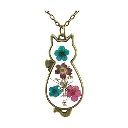 FM FM42 Multicolor Dried Flowers Cat Shape Pendant Necklace with 27' Long Chain FN2098
