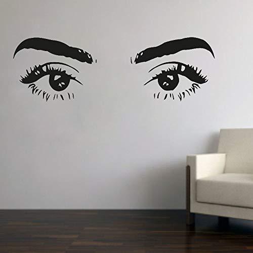 Etiqueta de la pared de pestañas pared vinilo calcomanía decoración de la habitación decoración del dormitorio salón de belleza pestañas chica papel tapiz