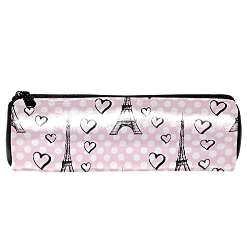 Estuche para lápices con diseño de torre Eiffel rosa con corazones, bolsa de almacenamiento, organizador de cosméticos para la escuela, adolescentes, niñas, niños, hombres y mujeres