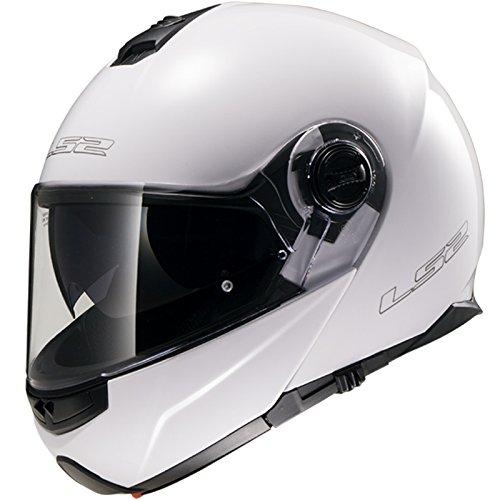 LS2 FF325 Cascos modulares de Moto DVS Motocicleta Bicicleta - Blanco M(57-58cm)