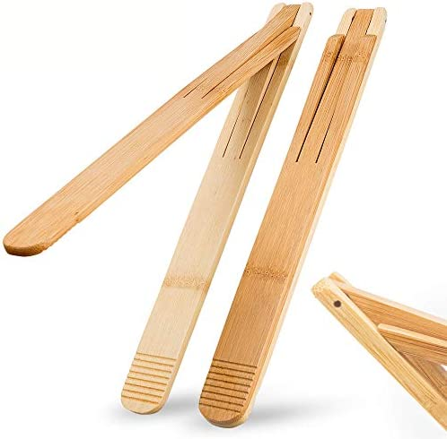 Bamboo Wood Salad Tongs with Space Saving Collapsible Spring Enhanced Grip for Kitchen BBQ Cooking product image