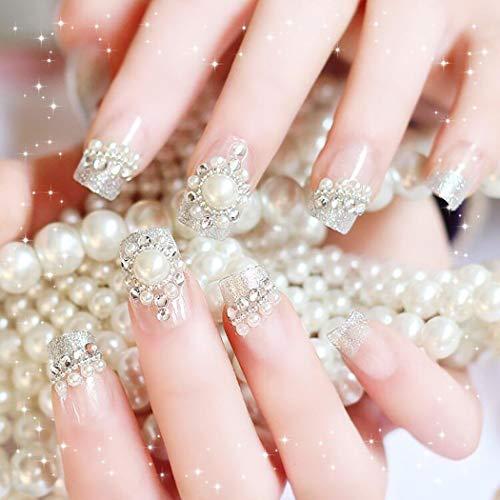 Ushiny 24 künstliche Nägel, Kunst-Design, künstliche Nägel, volle Abdeckung, lange Kunstnägel für Frauen und Mädchen (weiß)