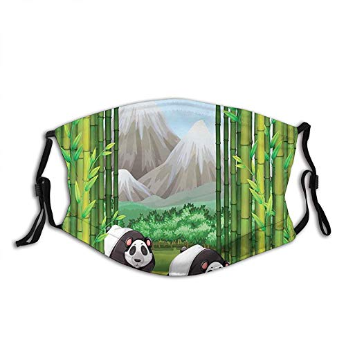 Panda Bears Walking Among Bamboo Majestic Mountain Jungle Mask Unisex Anti-Dust Face Cover Outdoor Sports cycling Mouth Shield Reusable Washable Christmas gi-ft