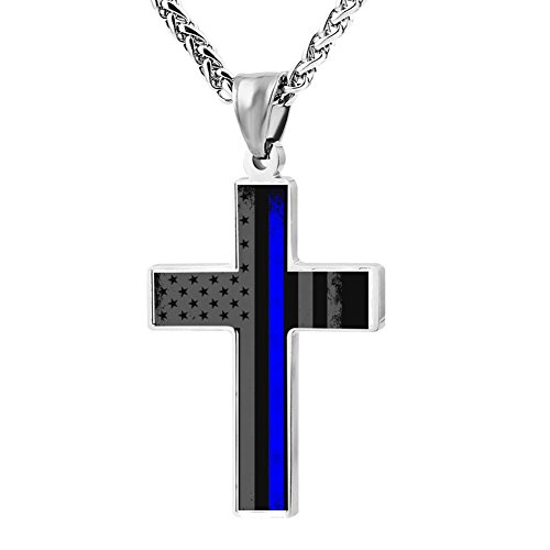 Hei Bai.J Cross Pendant Necklace Thin Blue Line American Flag Christian Religious Jewelry for Men and Women
