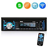 Pyle Marine Bluetooth Stereo Radio - 12v Single DIN Style Boat In dash Radio Receiver System with Built-in Mic, Digital LCD, RCA, MP3, USB, SD, AM FM Radio - Remote Control - PLMRB29B (Black)