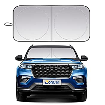 ZonCar Windshield Sun Shade fit for Most Sports Car Truck SUV Vans Blocks UV Rays Sun Visor Protector Foldable Car Front Window Sunshade Heat Shield Reflector Cover   63 x 32 in / 160 x 80 cm