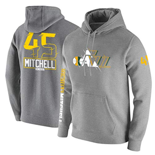 QNL Mitchell # 45 Jazz Basketball Commemororate Jersey Basketball The New Hoodie Men's Top Fiesta Deportiva al Aire Libre (M-XXXXL) Grey-L