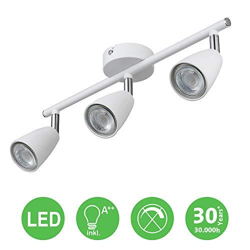 IMPTS LED Deckenleuchte 3 Flammig Weiss, inkl. 3 x 3W Leuchtmittel GU10 LED, 250LM,230V, IP20,Warmweiß, Schwenkbar, LED Deckenlampe Deckenspot Deckenstrahler Spotleuchte