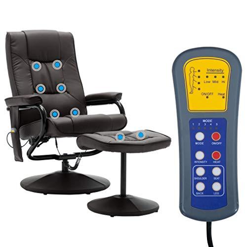 Tidyard Elektrischer verstellbaren Massagesessel Mit Fußhocker,Fernsehsessel Sessel Mit Heizfunktion,Rückenwinkel Einstellbar,8-Punkte-Massage,Relaxsessel Liegefunktion Mit Fernbedienung,Kunstleder
