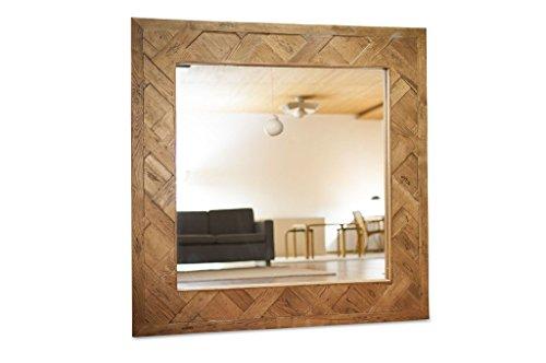 Queens houten spiegel industriele stijl - Massief hout, Unieke stukken | Een uitzonderlijke spiegel in XXL-formaat, gemaakt van oude eiken parketvloeren - Olijfbruin (L135 x H135 x P4 cm)