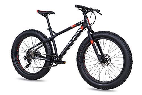 CHRISSON Bicicleta de montaña Fat Four de 26 pulgadas, color negro y rojo, Hardtail Fat Tyre Mountain Bike, bicicleta con neumáticos 4.0 grasos y 10 velocidades Shimano Deore