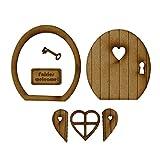 Mini puerta de madera miniatura cuento de hadas decoraci贸n de puerta de madera kit de...