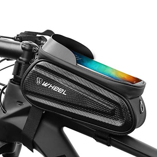 ALBEFY Bolsa de Cuadro de Bicicleta, Bolsa de Asa de Bicicleta súper Impermeable, Bolsa de Bicicleta de 7 Pulgadas Bolsa, Pantalla Táctil de TPU con Visera y Cubierta para Lluvia