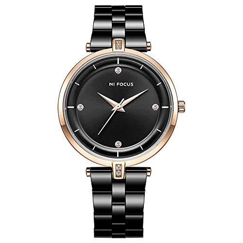 Relojes de mujer boutique de correa de metal de acero inoxidable, reloj de moda impermeable con movimiento japonés simple con incrustaciones diamantes, reloj analógico impermeable para negocios y ocio