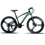Bicicleta De Montaña De 26 Pulgadas 21 Velocidad Bicicleta De Cuadro De Acero De Alto Carbono Frenos De Doble Disco Bicicleta Rueda De Radios Y Rueda De Cuchillo Bicicleta-3 Cuchillo Negro Azul