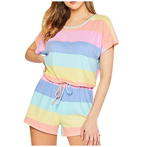 PPangUDing Schlafanzug Set Damen Sommer Kurzarm Baumwoll Regenbogen Streifen Printed Atmungsaktiv Sleepwear Pyjama Zweiteiliger Hausanzug (L, Gelb)