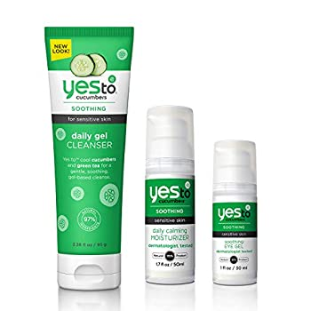 Yes To Cucumbers Face Kit  Soothing Eye Gel Gel Cleanser Daily Calming Moisturizer