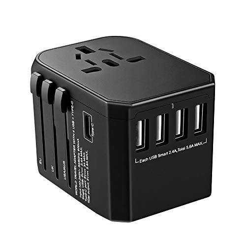 BrizLabs Universal Reiseadapter Weltweit Reisestecker mit 4 USB Ports + Typ C International Ladegerät Sicherheit AC Steckdose mit Ersatz Sicherung für Reisen in EU UK US AU Asien Über 200 Ländern