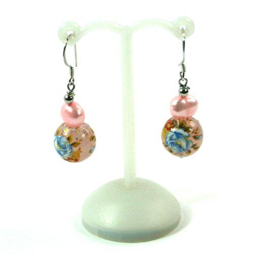Bg3268–2 Rose Perle et perle en céramique Pendants d'oreilles en noir avec de véritables perles d'eau douce de gingembre