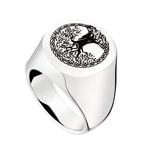 HooAMI[ホーアムアイ] メモリアル リング ステンレス 納骨 指輪 遺骨入れ 防水仕様 生命の樹 アメリカサイズ9号 24mmx29mm
