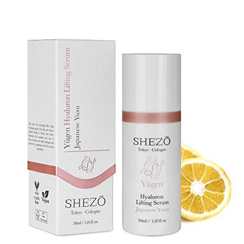 SHEZO Hyaluron Liftingserum hochdosiert 30ml Gesicht Serum Japanische Superfrucht Yuzu - Anti-Falten Gesichtserum – Natürliche Feuchtigkeitspflege Vitamin-C Serum für Gesicht - Made in Germany
