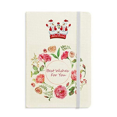 Notizbuch mit roten Rosen, buschigem Muster, Weihnachten, Schneemann, dick, Hardcover
