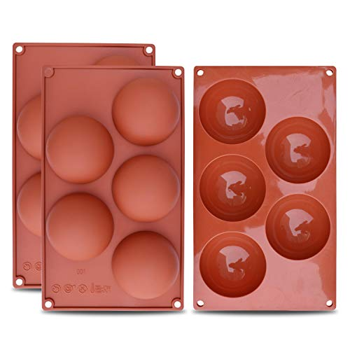 homEdge Extra Large 5-Cavity Semi Sphere Silicone Mold, 3 Packs Baking Mold for Making Hot Chocolate Bomb, Cake, Jelly, Dome Mousse