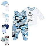 Baby Sweets 2er Baby-Set mit Strampler & Shirt für Jungen/Baby-Erstausstattung in Blau-Grau in Camouflage-Optik/Baby-Strampler als Babykleidung/Baby-Outfit aus Baumwolle/Größe: 62 (3 Monate)