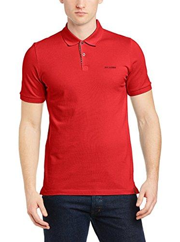 Ben Sherman Woven Trimmed Pique Polo Camiseta Manga Corta, Letterbox Red, S para Hombre