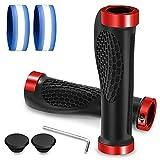 Cikyner Puños de goma ergonómicos para manillar de bicicleta, 22 mm, para BMX, MTB, bicicleta de carretera, bicicleta plegable (rojo, con 2 correas reflectantes)