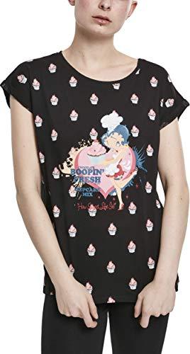 MERCHCODE Damen Ladies Betty Boop AOP Tee T-Shirt, Black, M