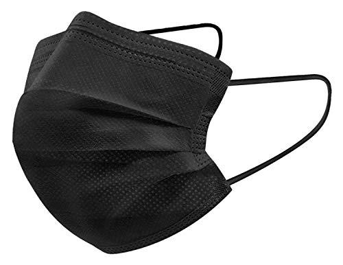 100X Einweg Mundschutz Masken Schwarz Gesichtsmasken CE Zertifiziert 3-Lagig Mund-Nasen-Bedeckung