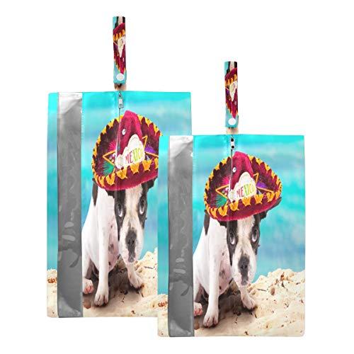 Mnsruu Französische Bulldogge Welpe mexikanische Reise Schuhtasche Schuhaufbewahrung Organizer Tasche für Männer Frauen 2 Stück (Standardgröße: 23 x 38 cm; XL-Größe: 23 x 43 cm)