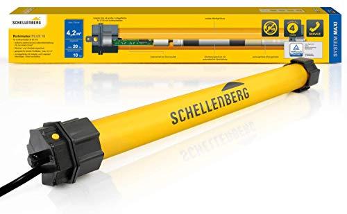 Schellenberg 20710 Rolladenmotor Plus 10 Nm, elektronische Endlageneinstellung, bis 4,2 m² Fläche, Rohrmotor für 60 mm Welle, Komplettset mit Wandlager