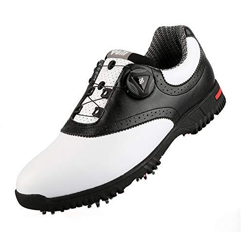 JUST ALONE Hombre para Mujer Zapatos de Golf Transpirables Impermeables Antideslizantes de Golf Deportes de Golf Corriendo (Color : Negro, Size : UK 6)