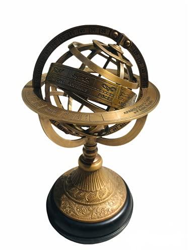 Venus Incorporation 10' Engraved Brass Tabletop Armillary Sphere Nautical Beautiful Globe Antique Astrolabe Armillary Desk Décor