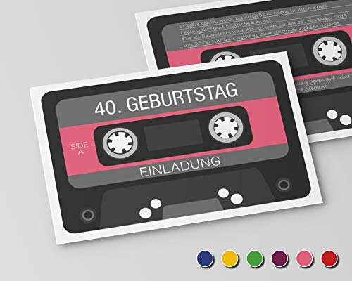 Einladungskarten zum Geburtstag (10 Stück) Einladung zum runden Geburtstag alle Jahre (Rosa) Retro Kassette