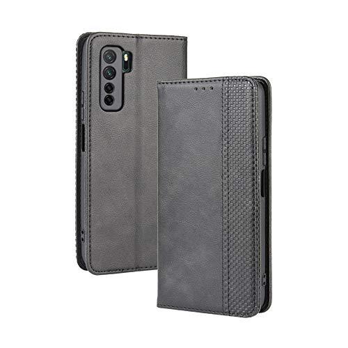 LAGUI Kompatible für Huawei P40 lite 5G Hülle, Leder Flip Hülle Schutzhülle für Handy mit Kartenfach Stand & Magnet Funktion als Brieftasche, schwarz