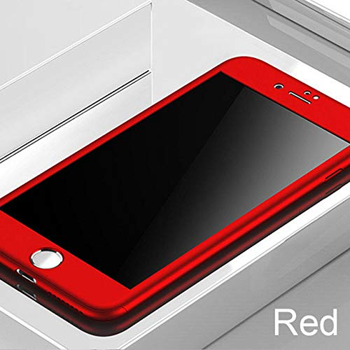 ZFLL Protector de Pantalla 360 Full Cover Phone Case For iPhone X 8 6 6s 7 Plus 5 5s SE PC Protective Cover For iPhone 7 8 Plus XS MAX XR Case with Glass,Red,For iPhone 8 Plus
