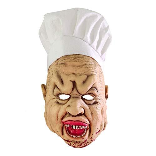 RQQSDHH Halloween Terror Zombie Chef Cara Accesorios De Cosplay Bloody Crazy Bloody Divertido Extremadamente Repugnante Cara De Cocinero con Delantal