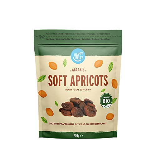 Marque Amazon - Happy Belly Abricots biologiques, lot de 8 x 200 g