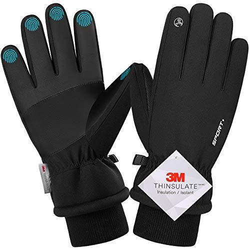 Songwin wasserdichte Winterhandschuhe, 3M Thinsulate Warme Touchscreen Handschuhe für Herren und Damen, Fahrradhandschuhe für Reiten Laufen Skifahren Wandern Radfahren (XL)