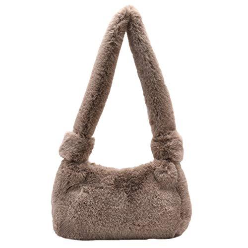 Amosfun Hobo Bag Crossbody zarte Frauen Schultertasche Plüsch Tote Bag Modische Handtasche für Frauen