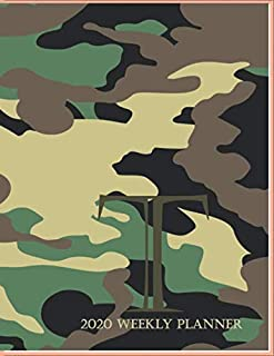 """2020 Weekly Planner T: This camouflage multi-Color Monogrammed """"T"""", 8.5"""" x 11"""" one page monthly, two page weekly with holi..."""
