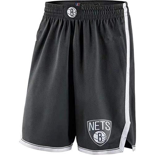 HANJIAJKL Pantaloncini di Basket,NBA Brooklyn Nets Shorts,Urbani Versione Ricamo Concorrenza Basket Pantaloncini di Formazione,Nero,L