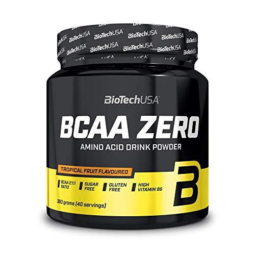 BioTechUSA BCAA Zero Bebida en polvo de aminoácidos aromatizada sin azúcar, con L-leucina, L-isoleucina y vitamina B6, 360 g, Frutas tropicales