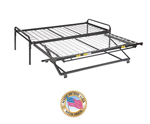 Twin Size Dark Black Metal Day Bed (Daybed) Frame & Pop Up Trundle (33'' Special Size) by Dream Solutions USA
