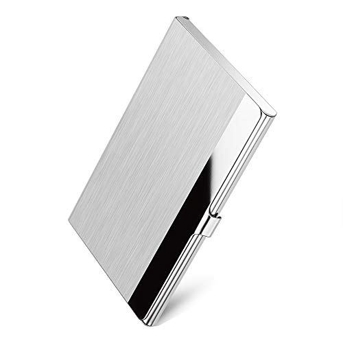 Sooez Business Card Holder, Metal Business Card Holders Slim Name Cards Case Stainless Steel Card Holder Box, Silver Mirror