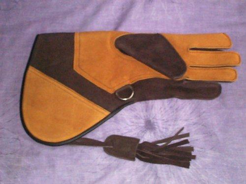 Handschuh, für Falknerei, Veloursleder, Leder, doppellagig, Samt, groß