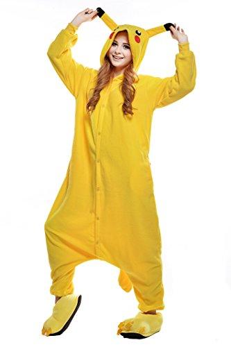 NEWCOSPLAY Unisex Adult Pikachu Pajamas Halloween Onesie Costume (Yellow, Small, s)